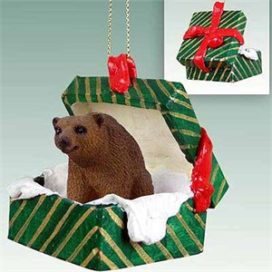 Brown Bear Gift Box Christmas Ornament