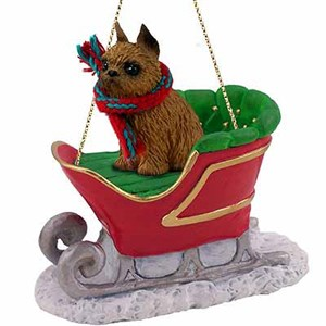 Brussels Griffon Sleigh Ride Christmas Ornament Red