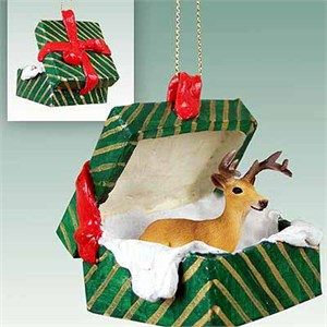 Buck Deer Gift Box Christmas Ornament
