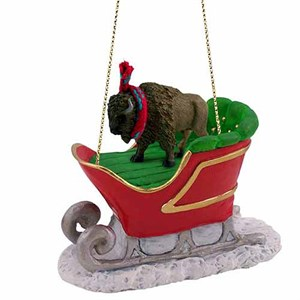 Buffalo Sleigh Ride Christmas Ornament