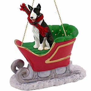 Bull Terrier Sleigh Ride Christmas Ornament Brindle
