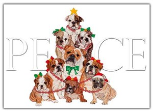 Bulldog Christmas Cards Peace