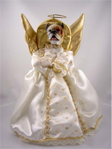 Bulldog Angel Christmas Tree Topper (White)
