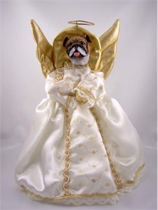 Bulldog Angel Christmas Tree Topper