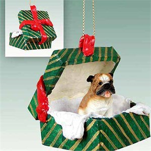Bulldog Gift Box Christmas Ornament