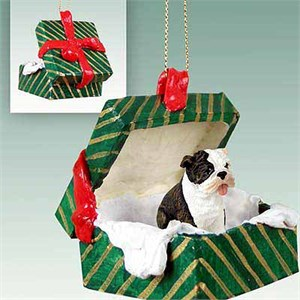 Bulldog Gift Box Christmas Ornament Brindle