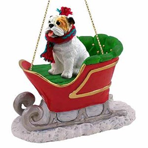 Bulldog Sleigh Ride Christmas Ornament White