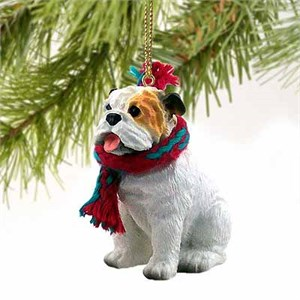 Bulldog Tiny One Christmas Ornament White