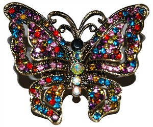 Bejeweled Butterfly Rhinestone Stretch Ring