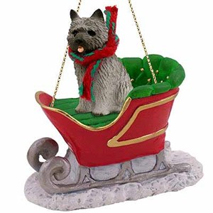 Cairn Terrier Sleigh Ride Christmas Ornament Gray