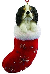 Cavalier King Charles Christmas Stocking Ornament B/W