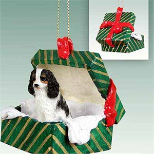 Cavalier King Charles Spaniel Gift Box Christmas Ornament Black-White