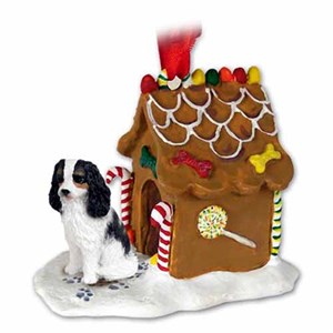 Cavalier King Charles Spaniel Gingerbread House Christmas Ornament Black-White