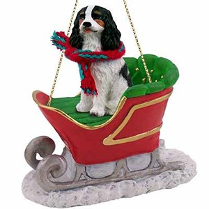 Cavalier King Charles Spaniel Sleigh Ride Christmas Ornament Black-White