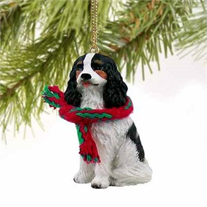 Cavalier King Charles Spaniel Tiny One Christmas Ornament Black-White