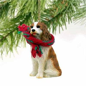 Cavalier King Charles Spaniel Tiny One Christmas Ornament Brown-White
