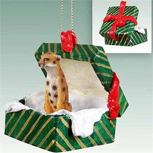 Cheetah Gift Box Christmas Ornament