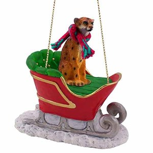 Cheetah Sleigh Ride Christmas Ornament
