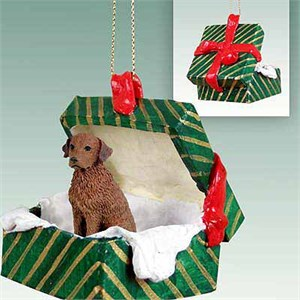 Chesapeake Bay Retriever Gift Box Christmas Ornament