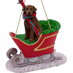 Chesapeake Bay Retriever Sleigh Ride Christmas Ornament