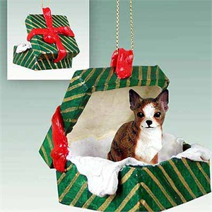 Chihuahua Gift Box Christmas Ornament Brindle-White