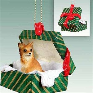 Chihuahua Gift Box Christmas Ornament Longhaired