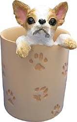 Chihuahua Pencil Holder Tan & White
