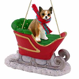 Chihuahua Sleigh Ride Christmas Ornament Brindle-White
