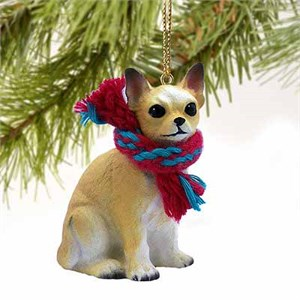 Chihuahua Tiny One Christmas Ornament Tan-White