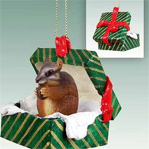 Chipmunk Gift Box Christmas Ornament