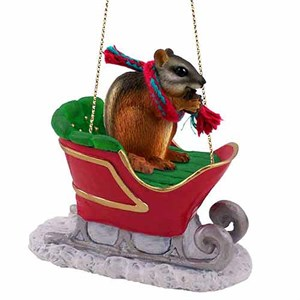 Chipmunk Sleigh Ride Christmas Ornament