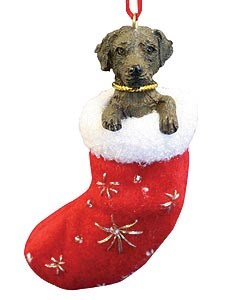 Chocolate Lab Christmas Stocking Ornament