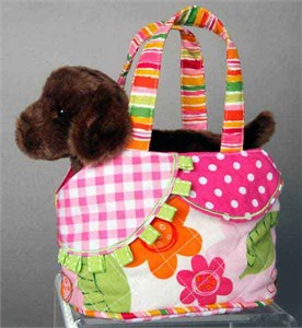 Chocolate Lab Purse wit Plush Lab