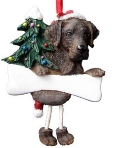 Chocolate Lab Christmas Tree Ornament - Personalize