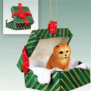 Chow Chow Gift Box Christmas Ornament Red