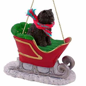 Chow Chow Sleigh Ride Christmas Ornament Black