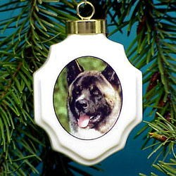 Akita Christmas Ornament Porcelain