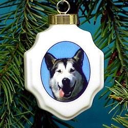 Alaskan Malamute Christmas Ornament Porcelain