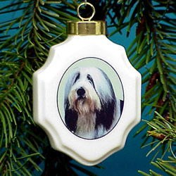 Bearded Collie Christmas Ornament Porcelain