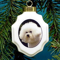 Bichon Frise Christmas Ornament Porcelain