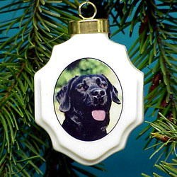 Black Labrador Retriever Christmas Ornament Porcelain