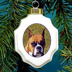 Boxer Christmas Ornament Porcelain