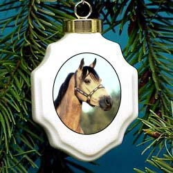Buckskin Horse Christmas Ornament Porcelain