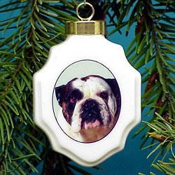 Bulldog Christmas Ornament Porcelain
