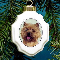 Cairn Terrier Christmas Ornament Porcelain