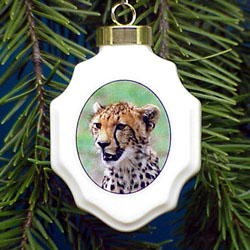 Cheetah Christmas Ornament Porcelain