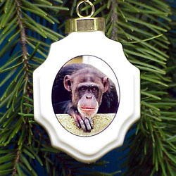 Chimpanzee Christmas Ornament Porcelain