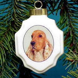 Cocker Spaniel Christmas Ornament Porcelain