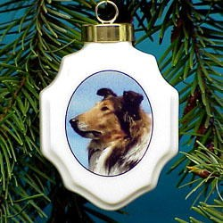 Collie Christmas Ornament Porcelain