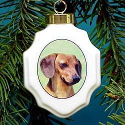Dachshund Christmas Ornament Porcelain